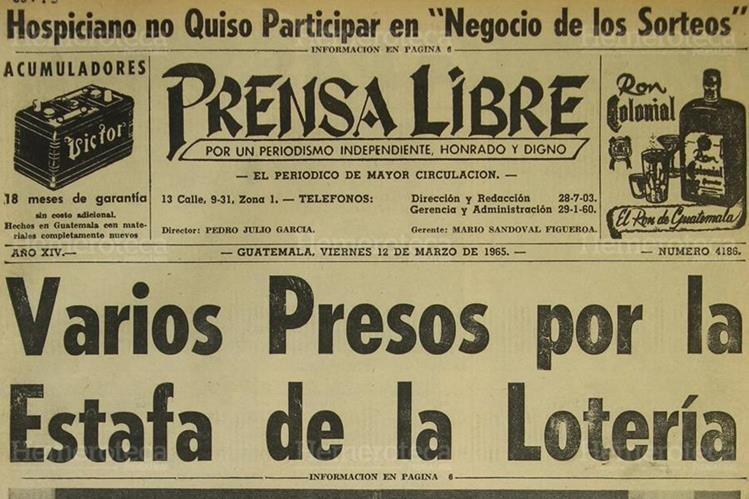 Portada de Prensa Libre del 12 de marzo de 1965. (Foto: Hemeroteca PL).