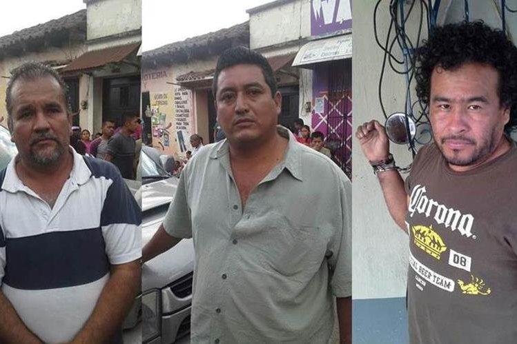Los tres capturados son sindicados de haberle robado Q60 mil a un cuentahabiente en San Cristóbal Verapaz. (Foto Prensa Libre: PNC)