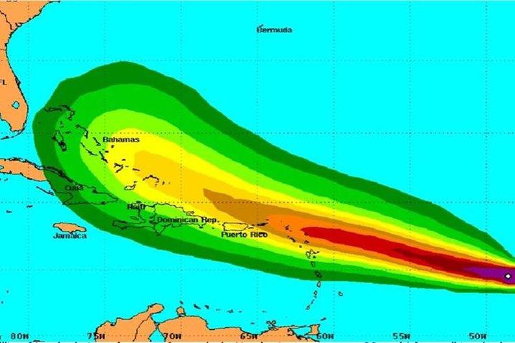 <em>Ubicación y recorrido de la tormenta tropical Erika.</em>