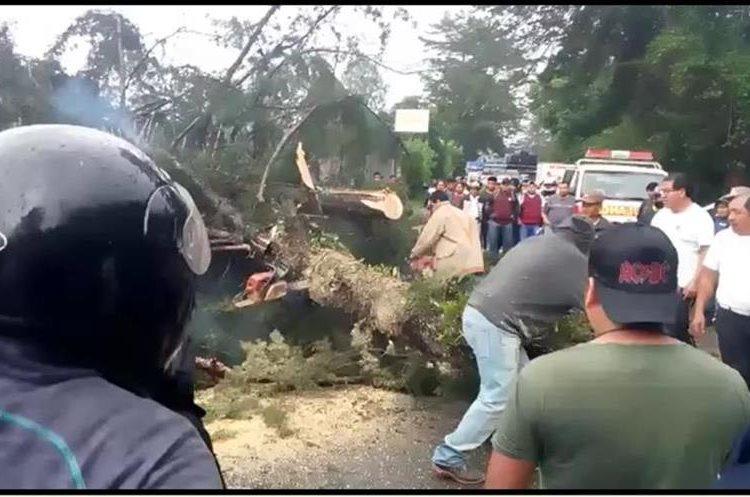 Vecinos y socorristas retiran un árbol derribado por el viento en ruta hacia Nebaj, Quiché. (Foto Prensa Libre: Héctor Cordero)