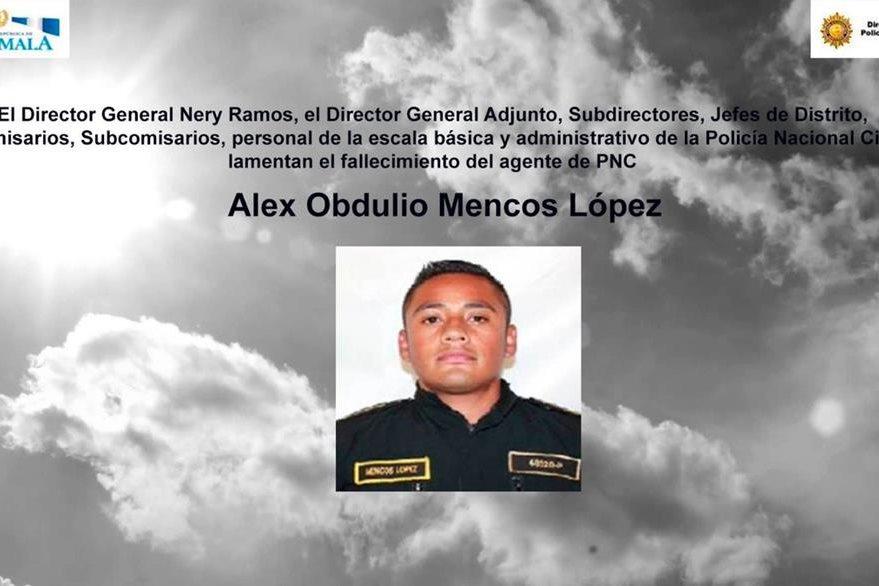El agente Alex Obdulio Mencos López, tenía 26 años, era originario de Jutiapa y laboró por dos años y tres meses en la PNC. (Foto, Prensa Libre: Twitter PNC)