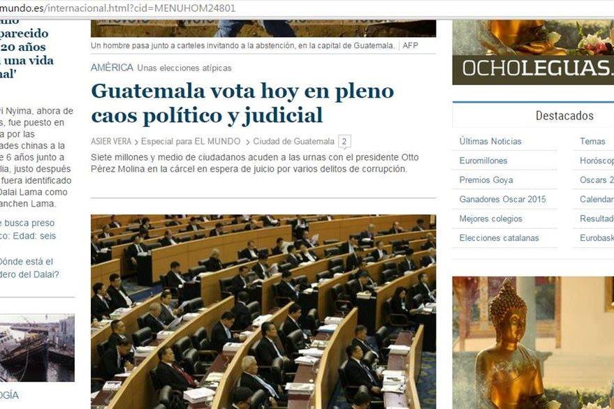 El Mundo de España le dedicó un lugar en la sección Internacionales a las elecciones en Guatemala.