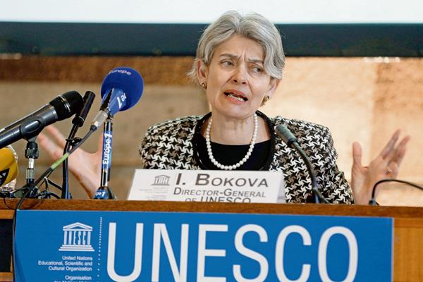 Irina Bokova,  directora general de la Unesco, durante una conferencia de prensa.