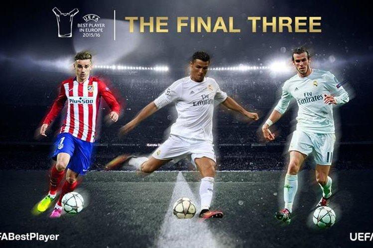 Griezmann, Ronaldo y Bale son los nominados al mejor jugador de Europa. (Foto Prensa Libre: UEFA.COM)
