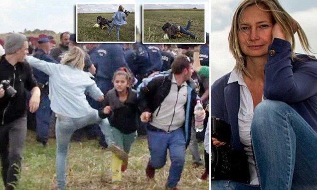 Petra László se hizo famosa hace un año por patear y poner zancadillas a varios refugiados.(Foto Prensa Libre:AFP).
