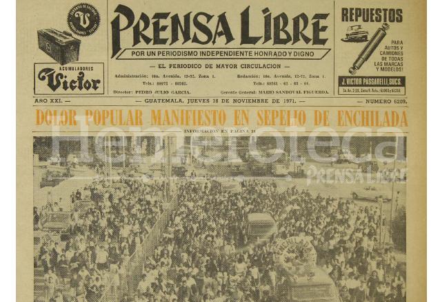 Titular de Prensa Libre del 18/11/1971. (Foto: Hemeroteca PL)