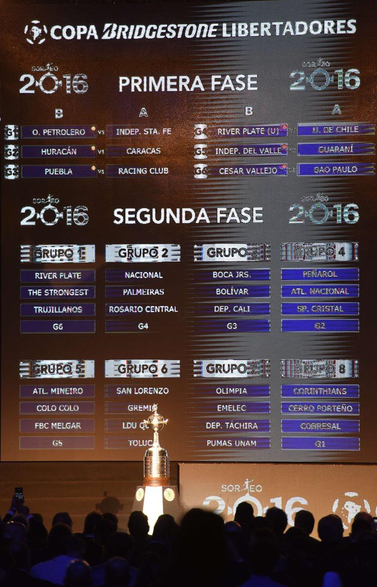 Así quedaron los emparejamientos y grupos de la Libertadores. (Foto Prensa Libre: AFP)