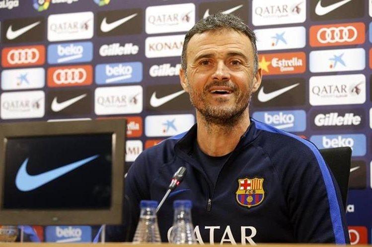 Luis Enrique Martínez, técnico del FC Barcelona, durante la conferencia de prensa de este miércoles. (Foto Prensa Libre: FC Barcelona)