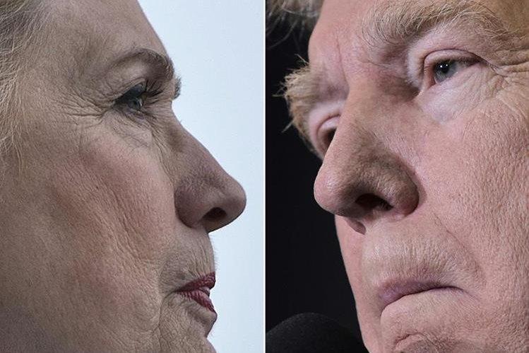 La demócrata Hillary Clinton (a la izq.) y el republicano Donald Trump se juegan la más alta magistratura de EE. UU. (Foto Prensa Libre: AFP).