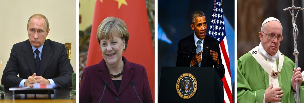 De izq. a der., el presidente ruso, Vladimir Putin; la canciller alemana, Ángela Merkel; el presidente de EE. UU. , Barack Obama, y el papa Francisco. (Foto Prensa Libre: EFE).