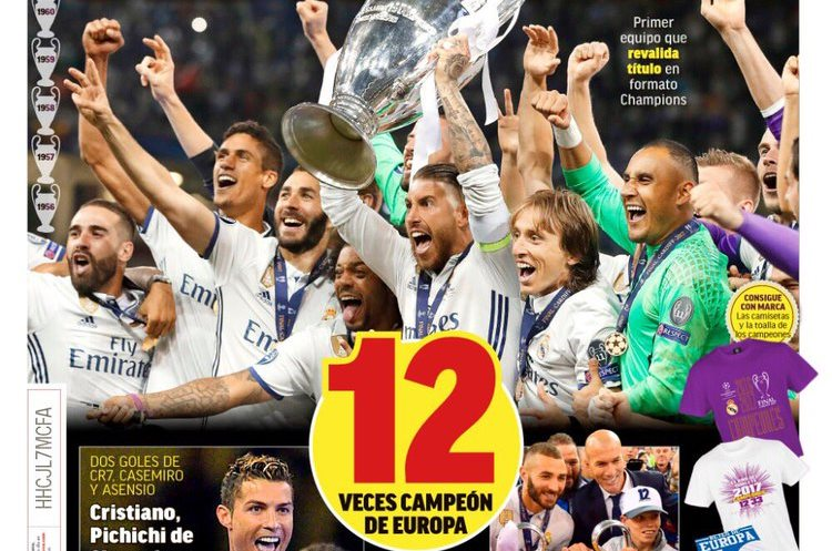 """Así saldrá MARCA el domingo luego del contundente triunfo del Real Madrid sobre la """"Juve"""". (Foto Prensa Libre: Diario Marca)"""