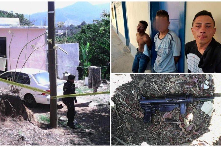En la vivienda se atrincheraron las tres personas, uno de ellos menor de edad. Se les incautó un fusil y un arma de fuego. (Foto Prensa Libre: Cortesía PNC)