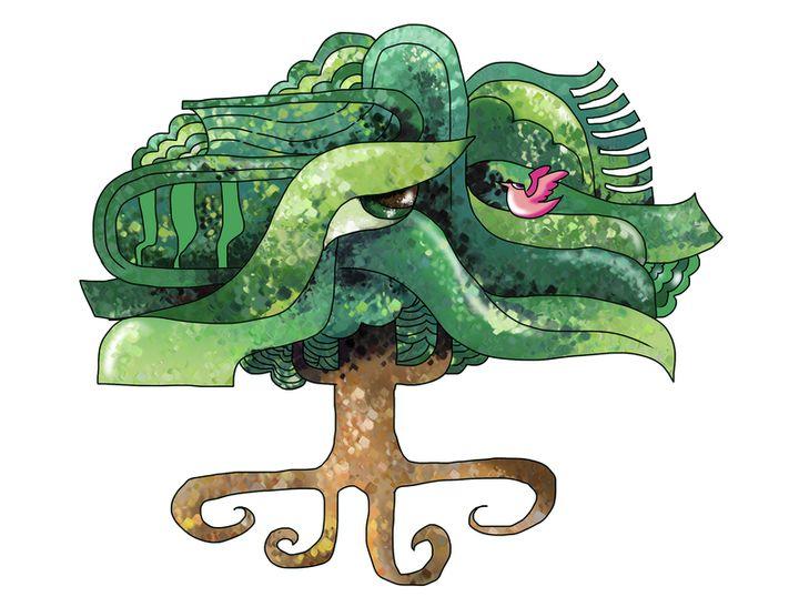 En las leyendas cosmogónicas mayas, la ceiba estaba en el centro del universo. (Ilustración Prensa Libre: Kevin Ramírez).