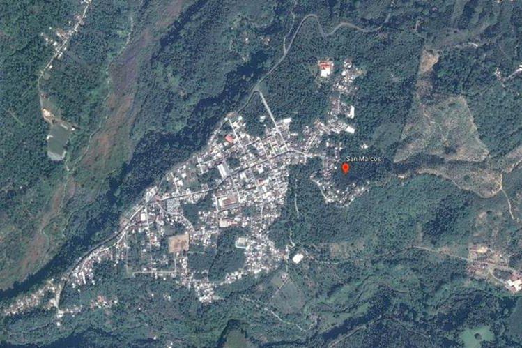 Ubicación de la cabecera de San Marcos, donde se investiga la compra de alimentos sobrevalorados efectuada en el 2015. (Foto Prensa Libre: Google Earth)