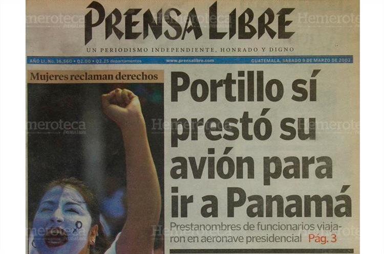 """El presidente Portillo dijo: """"Presté  mi avión a mi cuñado""""  para ir a Panamá. 9/3/2002 (Foto: Hemeroteca PL)"""