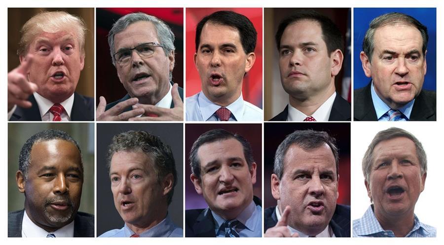Los 10 candidatos republicanos fueron escogidos según las últimas mediciones de preferencia electoral. (Foto Prensa Libre: AFP).