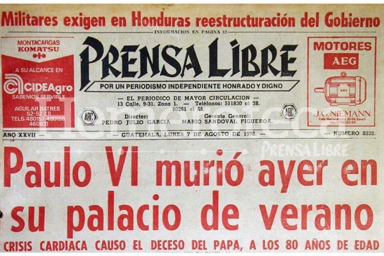 Titular anunciando la muerte de Paulo VI en 1978. (Foto: Hemeroteca PL)