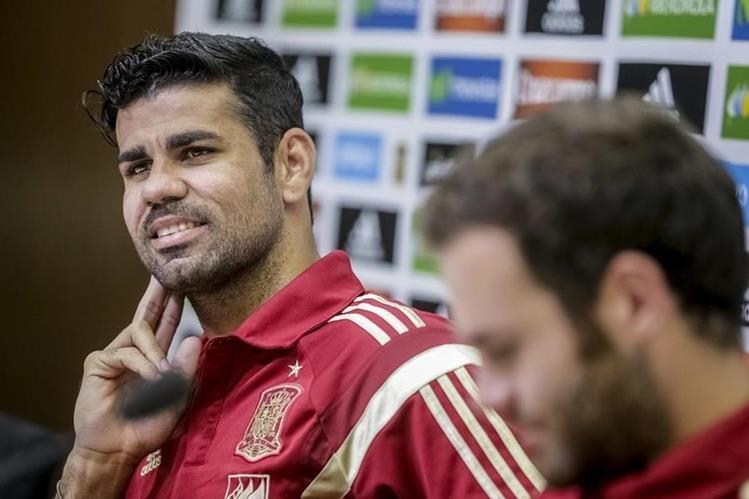 Diego Costa durante la Conferencia de Prensa de los seleccionados españoles de este miércoles. (Foto Prensa Libre: EFE)