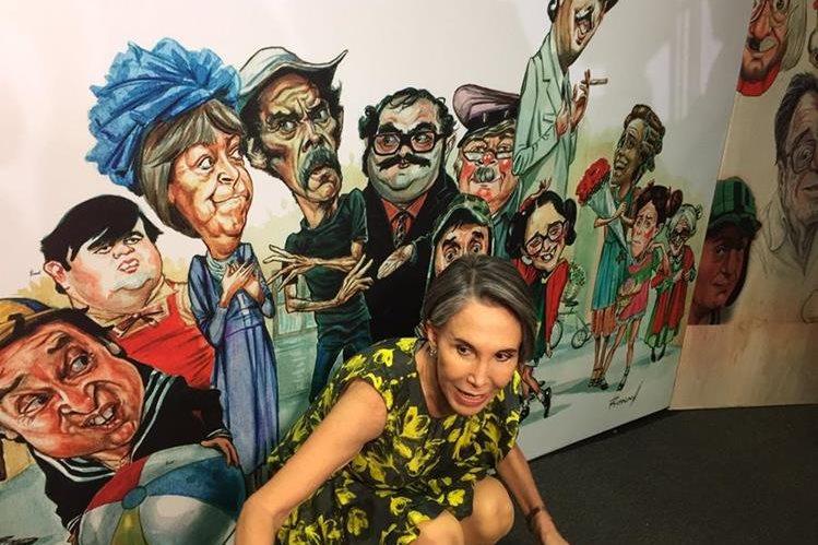 """Florinda Meza, vuida de """"Chespirito"""", durante la inauguración del homenaje al comediante mexicano (Foto Prensa Libre: Twitter)."""