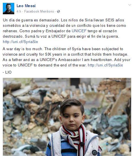 Parte de la publicación que Messi escribió en su cuenta oficial de Facebook. (Foto Prensa Libre).