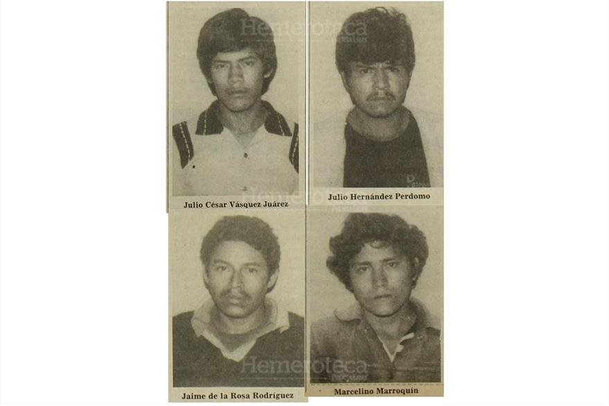 Julio César Vásquez Juárez, Julio Hernández Perdomo, Jaime de la Rosa Rodríguez y Marcelino Marroquín, fueron fusilados, 18/09/1982. (Foto Hemeroteca PL)