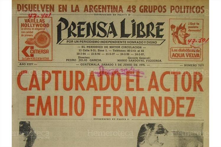 Portada de Prensa Libre del 5/6/1976 con la captura de Emilio Fernández. (Foto: Hemeroteca PL)
