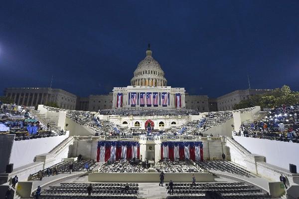 Vista del frente del capitolio antes de la ceremonia de toma de posesión de Trump.(AFP).
