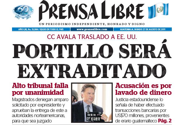 Titular de Prensa Libre del 27 de agosto de 2011. (Foto: Hemeroteca PL)