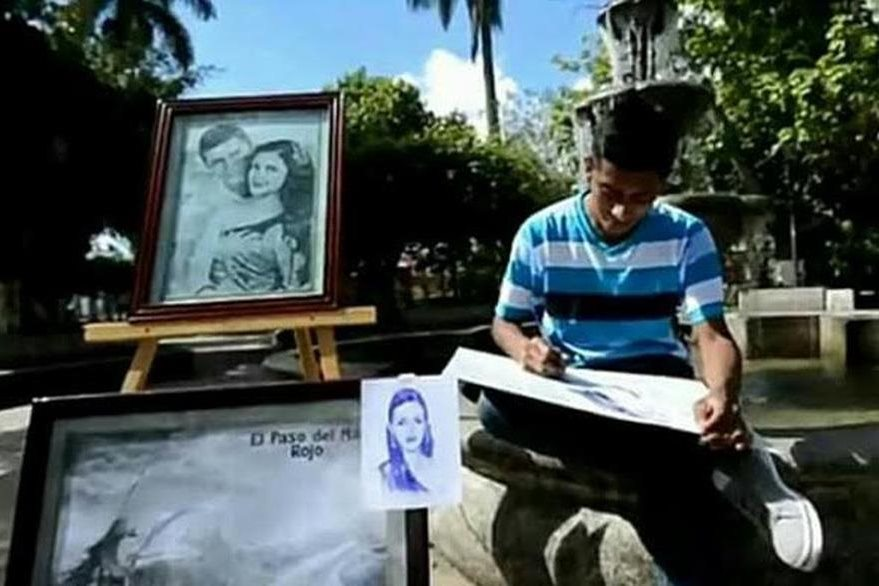 Retratar a  lapicero es otra de las  especialidades de Niz. (Foto Prensa Libre: Colaboración).