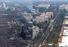 A la izq. la asistencia a la toma de posesión de Obama en el 2008 y a la derecha, la de Donald Trump, el 20 de enero del 2017. (Fotos Prensa Libre: AP).