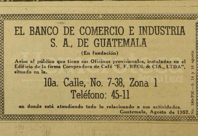 Anuncio del Banco de Comercio e Industria cuando inició operaciones, publicado el 14 de agosto de 1957. (Foto: Hemeroteca PL)