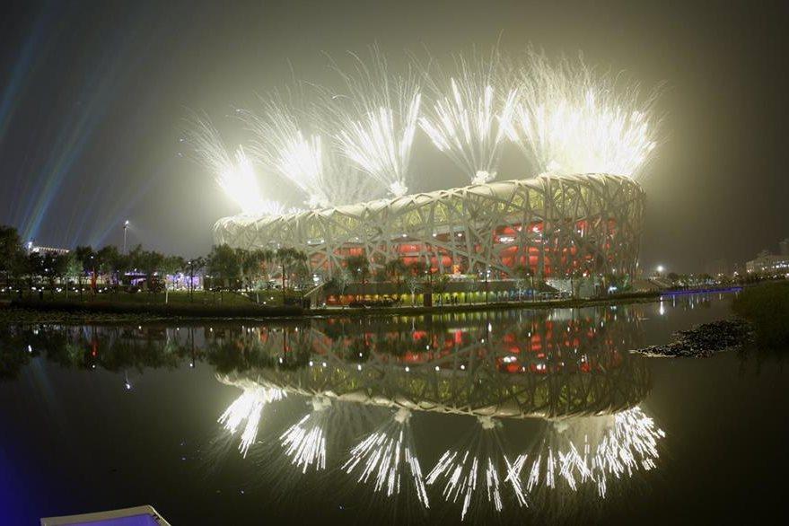 Ceremonia de clausura de los Juegos de Pekín 2008 que se realizó en el Estadio Nacional, llamado también Nido de Pájaro. (Foto: EFE)