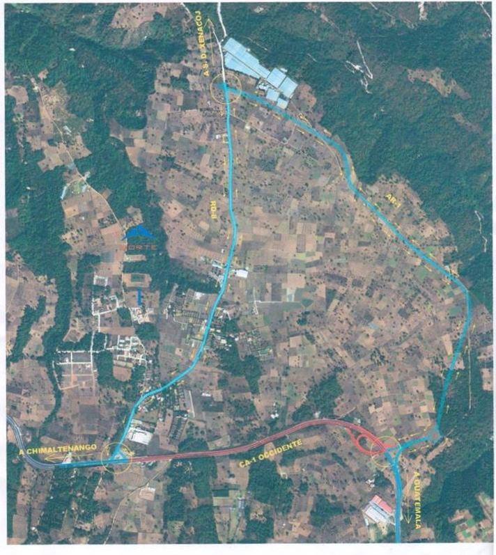 Mapa de la ruta Interamericana, donde se desviará el tránsito de vehículos. (Foto Prensa Libre: Municipalidad de Sumpango)