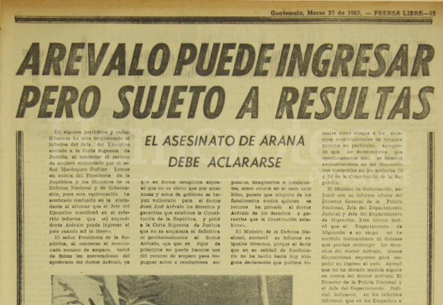 Comunicado oficial del gobierno donde se condiciona la entrada del ex presidente Arévalo al país. (Foto: Hemeroteca PL)
