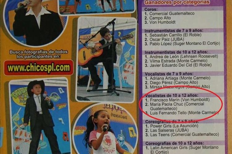 En el 2007 Paola Chuc participó en el Talent Kids y obtuvo el segundo lugar en la categoría de vocalistas de 10 a 12 años. (Foto Prensa Libre: HemerotecaPL)