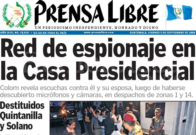 Titular de Prensa Libre del 5 de septiembre de 2008. (Foto: Hemeroteca PL)
