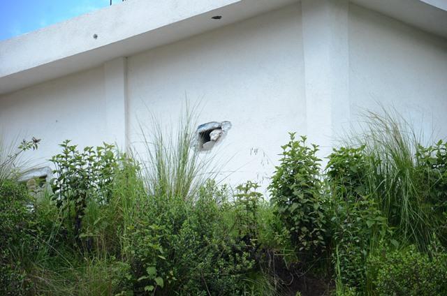 Existen varias paredes con perforaciones, tipo búnker, acoplados para colocar ametraladoras durante los enfrentamientos. (Foto Prensa Libre: Cortesía)