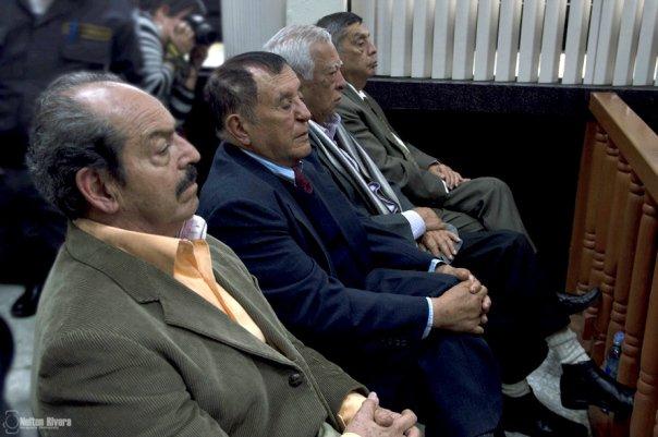 Militares enviados a juicio, Benedicto Lucas, Manuel Callejas, Francisco Gordillo, Letona Linares y Hugo Zaldaña. (Foto Prensa Libre: Cortesía)