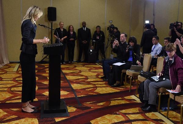 Sharapova habló de su situación en conferencia al prensa, donde argumentó del porqué del positivo. (Foto Prensa Libre: AFP).