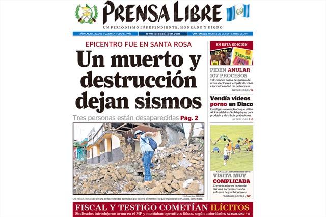 Terremoto sacudió Santa Rosa en septiembre del 2011. Dejó varios muertos, y daños materiales que nunca fueron reparados. (Foto: Hemeroteca PL)