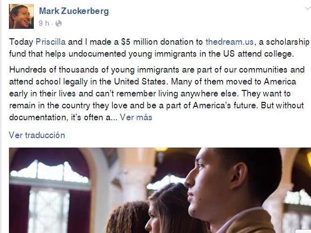 Zuckerberg anunció la donación en su cuenta oficial en Facebook. (Foto Prensa Libre: Facebook).