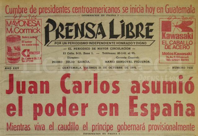 Titular de Prensa Libre del 31/10/1975. (Foto: Hemeroteca PL)