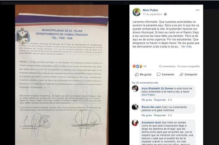 Hace unos días, sindicalistas municipales y vecinos de El Tejar, Chimaltenango, criticaron en Facebook la falta de acciones por parte de la comuna para aceptar la donación de una pasarela. (Foto Prensa Libre: Tomada de Facebook)