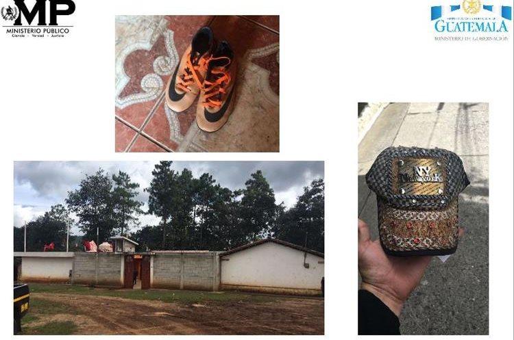 Zapatos y gorra decomisados durante la captura de Juan Peruch Mejía, supuesto líder de la estructura. (Foto Prensa Libre: Ministerio Público).