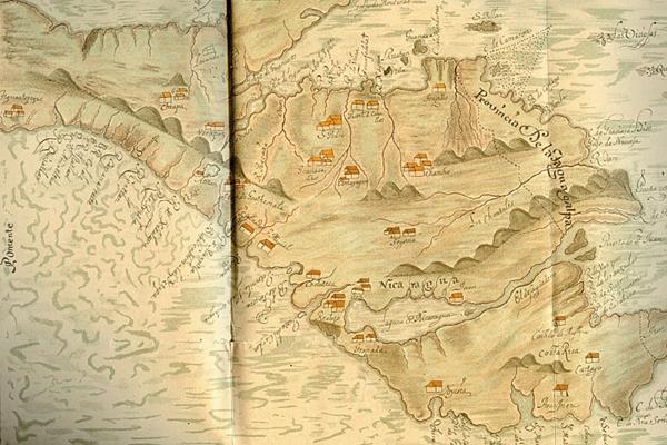 Mapa de la Audiencia de Guatemala desde Chiapas hasta Costa Rica a fines del siglo XVII.