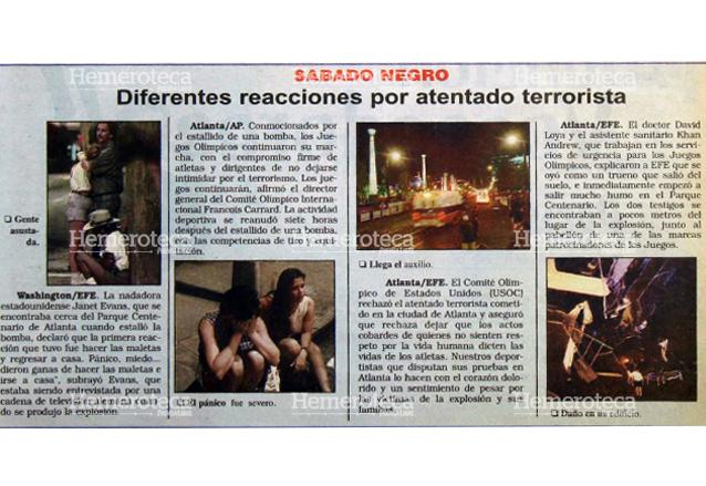 Reacciones de testigos del atentado contra los Juegos Olímpicos de Atlanta 1996. (Foto Prensa Libre: Hemeroteca)