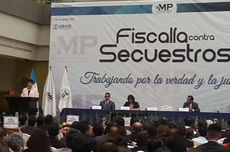 Fiscal General durante su discurso por la inauguración de la Fiscalía Contra el Secuestro. (Foto Prensa Libre: MP)