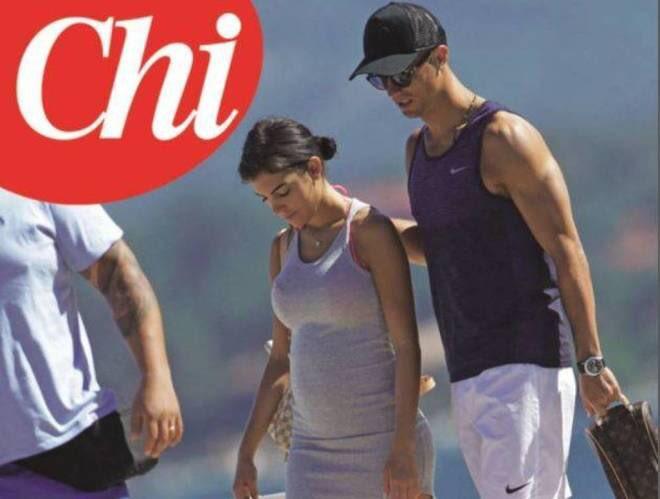 Georgina Rodríguez dejó ver su abultado vientre durante unas mini vacaciones con Cristiano Ronaldo. (Foto Prensa Libre: Revista Chi)