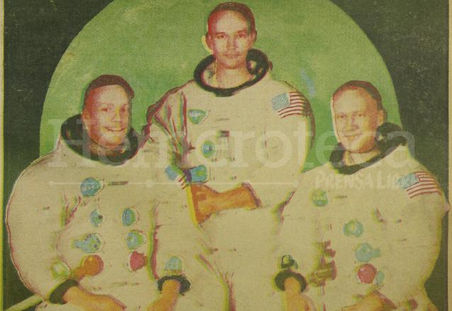 Neil Armstrong, Michael Collins y Edwin Aldrin, astronautas que integraron la misión Apolo 11 que llegó a la luna. Foto publicada en la portada de Prensa Libre el 16 de julio de 1969. (Foto: Hemeroteca PL)