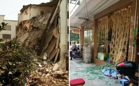 Un edificio de oficinas del gobierno y un comercio fueron dañados por la explosión.